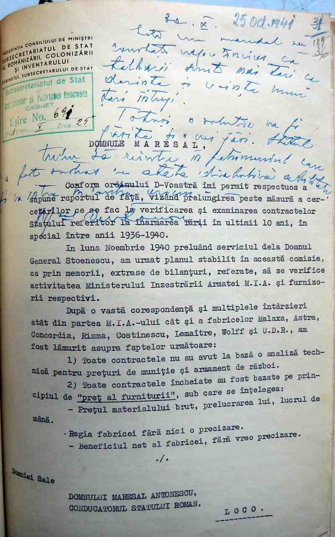 Scrisul de mână al lui Ion Antonescu. Mareşalul pornit împotriva corupţiei