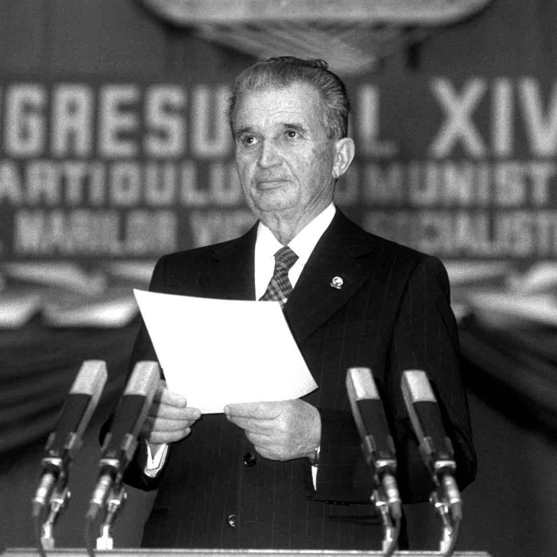 Nicolae Ceausescu la congresul al XIV- lea al Partidului Comunist Roman (PCR). - 24 noiembrie 1989.