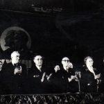 Ana Pauker în prezidiul adunării festive de la Ateneul Român, cu prilejul celei de a 33-a aniversări a Marii Revoluţii Socialiste din Octombrie. (6 noiembrie 1950) Fototeca Comunismului Românesc cota 114(80)/1950