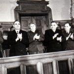 Petru Groza, Gheorghe Gheorghiu Dej, Ana Pauker, Vasile Luca, Teohari Georgescu, Iosif Chişinevschi, pe banca ministerială la M.A.N., cu prilejul votării legii Planului Cincinal de dezvoltare a economiei naţionale pe anii 1951-1955. (15 decembrie 1950) Fototeca Comunismului Românesc cota 161(124)/1950