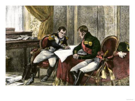 Împăratul Napoleon şi Ţarul Alexandru îşi împart Europa la Tilsit